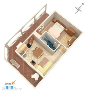 Milna, Proiect în unitate de cazare tip apartment, WiFi.