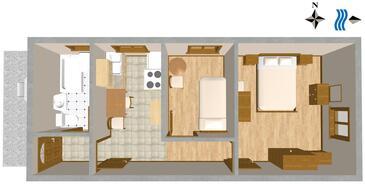 Podselje, Půdorys v ubytování typu apartment, domácí mazlíčci povoleni.