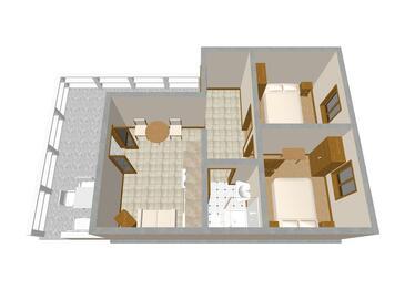 Zavalatica, Plan kwatery w zakwaterowaniu typu apartment, zwierzęta domowe są dozwolone i WiFi.
