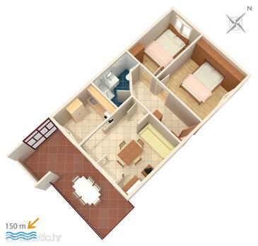 Vis, План в размещении типа apartment, Домашние животные допускаются и WiFi.