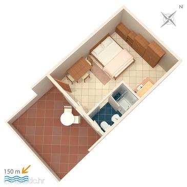 Vis, Půdorys v ubytování typu studio-apartment, domácí mazlíčci povoleni a WiFi.