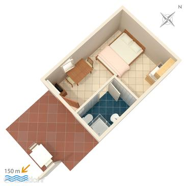 Vis, Plan in the studio-apartment, (pet friendly) and WiFi.