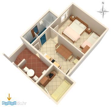 Artatore, Půdorys v ubytování typu apartment, domácí mazlíčci povoleni a WiFi.