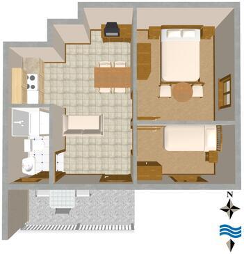 Vis, Půdorys v ubytování typu apartment, WiFi.
