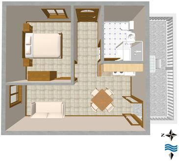 Rukavac, Půdorys v ubytování typu apartment, domácí mazlíčci povoleni.
