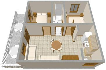 Prigradica, Plan in the apartment, dopusteni kucni ljubimci i WIFI.