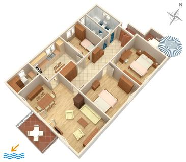 Mali Lošinj, Plan in the apartment, dopusteni kucni ljubimci i WIFI.