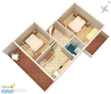 Mali Lošinj, Načrt v nastanitvi vrste apartment, WiFi.