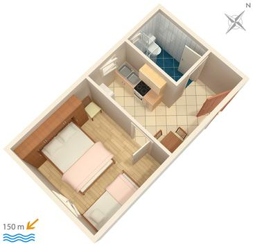 Mali Lošinj, Plan kwatery w zakwaterowaniu typu apartment, WiFi.