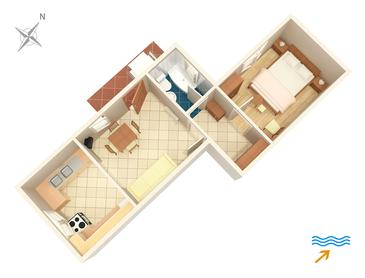 Mali Lošinj, Plan kwatery w zakwaterowaniu typu apartment, dopusteni kucni ljubimci i WIFI.