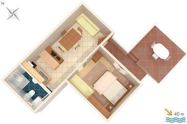 Mali Lošinj, Plan in the apartment, dopusteni kucni ljubimci i WIFI.
