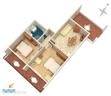 Mali Lošinj, Plan in the apartment, dopusteni kucni ljubimci.