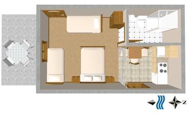 Trpanj, Plan kwatery w zakwaterowaniu typu studio-apartment.