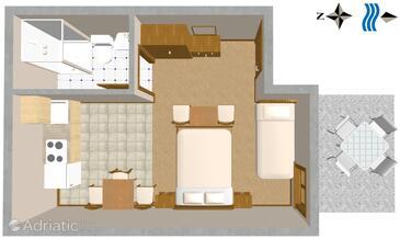 Trpanj, Plan in the studio-apartment.