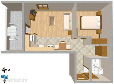 Mali Lošinj, Půdorys v ubytování typu apartment, WiFi.
