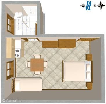 Nerezine, Plan in the studio-apartment, dopusteni kucni ljubimci i WIFI.