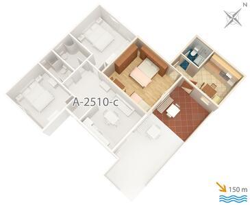 Cres, Plan kwatery w zakwaterowaniu typu apartment, zwierzęta domowe są dozwolone i WiFi.