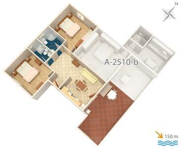 Cres, Půdorys v ubytování typu apartment, domácí mazlíčci povoleni a WiFi.