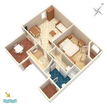 Nerezine, Plan in the apartment, dopusteni kucni ljubimci i WIFI.