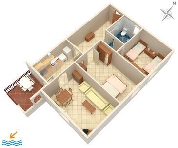Umag, Načrt v nastanitvi vrste apartment, Hišni ljubljenčki dovoljeni in WiFi.