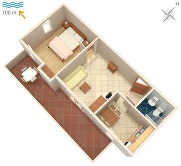 Karigador, Půdorys v ubytování typu apartment, dopusteni kucni ljubimci i WIFI.