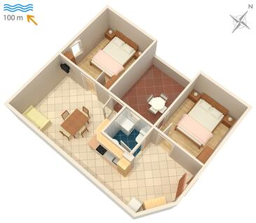 Karigador, Pôdorys v ubytovacej jednotke apartment, dopusteni kucni ljubimci i WIFI.