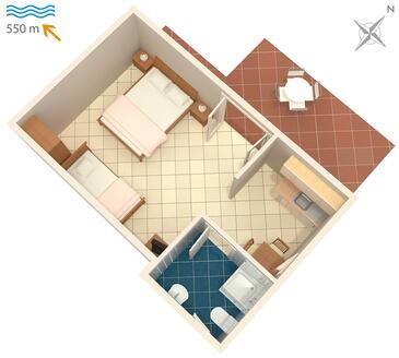 Novigrad, Půdorys v ubytování typu studio-apartment, WiFi.