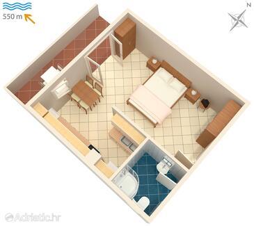 Novigrad, План в размещении типа studio-apartment, WiFi.