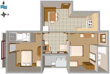 Novigrad, Půdorys v ubytování typu apartment, domácí mazlíčci povoleni.