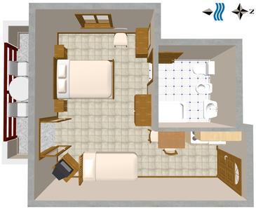 Novigrad, Plan kwatery w zakwaterowaniu typu studio-apartment, zwierzęta domowe są dozwolone.