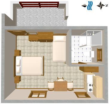 Novigrad, Plan in the studio-apartment, dopusteni kucni ljubimci.