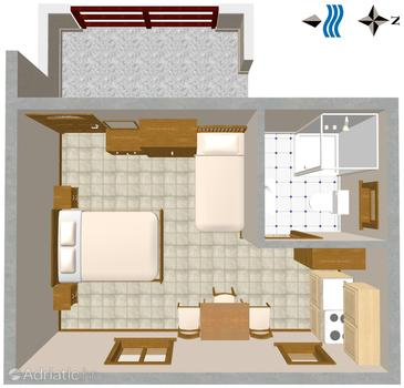 Novigrad, Plan in the studio-apartment, dopusteni kucni ljubimci.