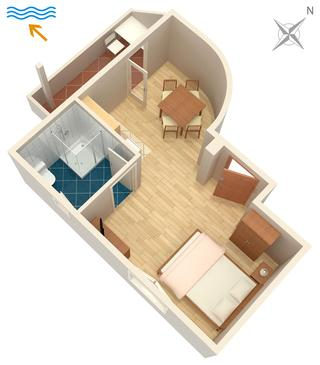 Umag, Pôdorys v ubytovacej jednotke studio-apartment, WIFI.
