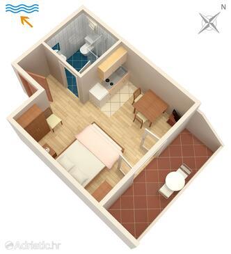 Umag, Plan in the studio-apartment, WiFi.