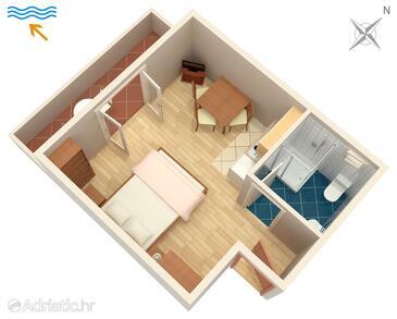 Umag, Půdorys v ubytování typu studio-apartment, WiFi.