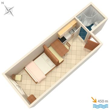 Novigrad, Plan kwatery w zakwaterowaniu typu studio-apartment, WIFI.