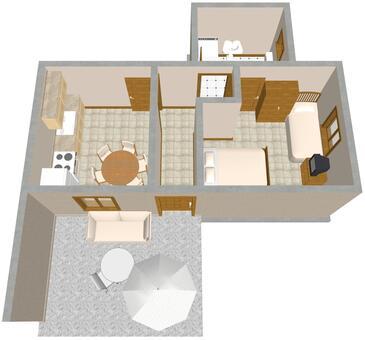 Slatine, Půdorys v ubytování typu apartment, domácí mazlíčci povoleni a WiFi.