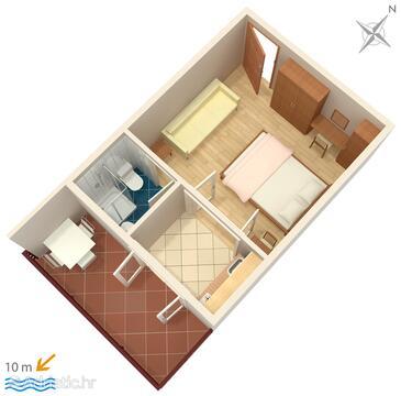 Podgora, Plan in the studio-apartment, WIFI.