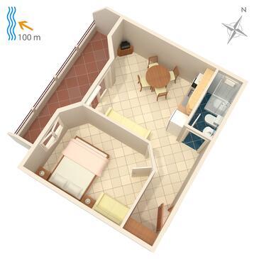 Drašnice, Pôdorys v ubytovacej jednotke apartment, WIFI.