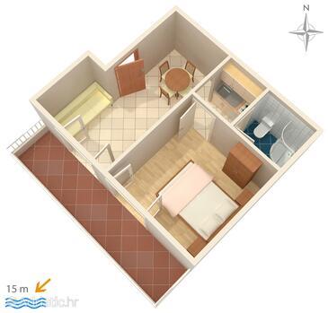 Promajna, Schema nell'alloggi del tipo apartment, WiFi.