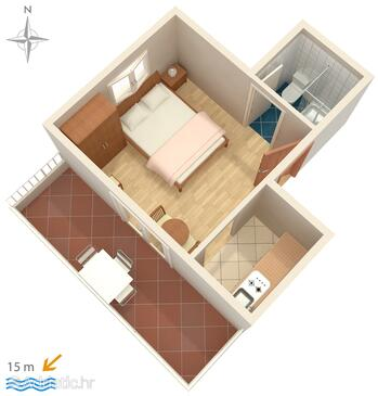 Promajna, Plan in the studio-apartment, WIFI.