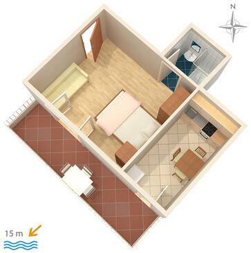 Promajna, Plan kwatery w zakwaterowaniu typu studio-apartment, WIFI.