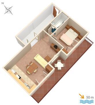 Živogošće - Mala Duba, Pôdorys v ubytovacej jednotke apartment, WiFi.