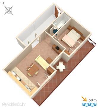 Živogošće - Mala Duba, Plan in the apartment, WiFi.