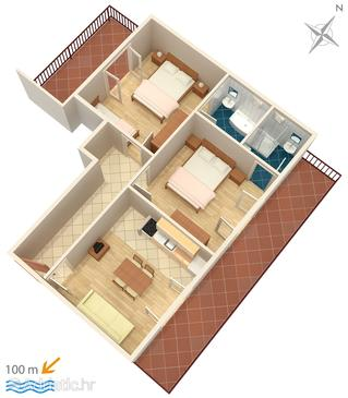 Baška Voda, Plan in the apartment, (pet friendly) and WiFi.