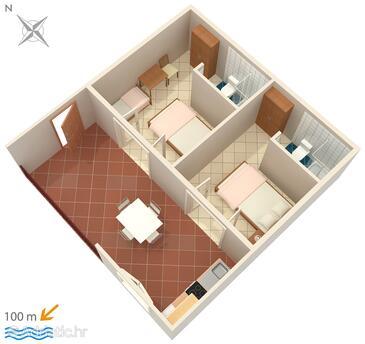 Podaca, Plan in the apartment, dopusteni kucni ljubimci i WIFI.