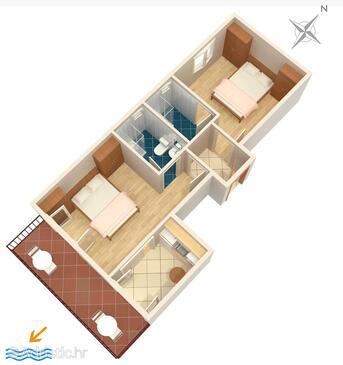 Podgora, План в размещении типа apartment, WiFi.