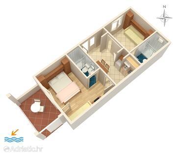 Podgora, Plan in the apartment, dopusteni kucni ljubimci i WIFI.