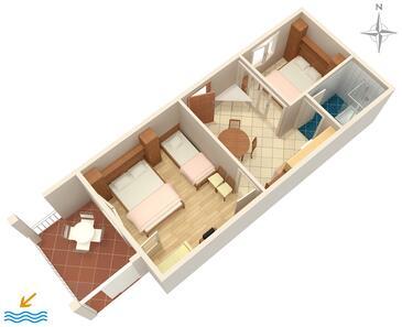 Podgora, Pôdorys v ubytovacej jednotke apartment, domáci miláčikovia povolení a WiFi.