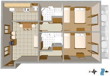 Podgora, Plan in the apartment, WIFI.